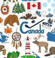 Sketch Canada seamless pattern vector image vector image