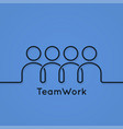 teamwork icon line business concept on blue vector image vector image