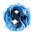 underwater world in paper art vector image
