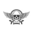 winged skull with handguns design element vector image vector image