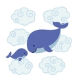 Cute cartoon whales - mother and baby in clouds vector image
