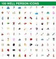 100 well person icons set cartoon style vector image