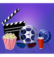 background while a movie with popcorn glasses film vector image