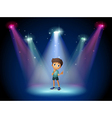 A boy acting at the stage with spotlights vector image vector image