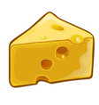 a piece cheese with holes isolated on white vector image vector image
