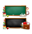 Back to school Two banners with school supplies vector image vector image