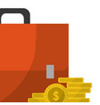 business briefcase and money coins vector image
