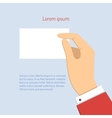 business man holding horizontal visit card vector image vector image