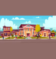cartoon street sidewalk people on it vector image vector image