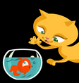 cat and fish cartoon vector image