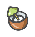 coconut tropical drink icon cartoon vector image