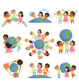 collection of multicultural little kids holding vector image vector image