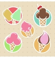 Colorful ice cream stickers collection vector image vector image