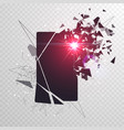cracked phone screen shatters into pieces broken vector image vector image