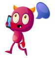 devil talking on cellphone on white background vector image vector image