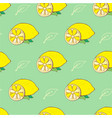 doodle yellow lemons and leaves behind green vector image vector image