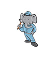 Elephant Builder Holding Hammer Cartoon vector image vector image