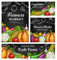 farm vegetable sketches on chalkboard banners vector image vector image