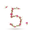 Floral number five for your design vector image vector image