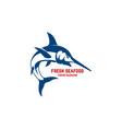 fresh seafood emblem template with swordfish vector image