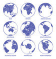 globe sketch map world hand drawn globe earth vector image