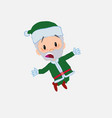 green santa claus jumping terrified vector image vector image