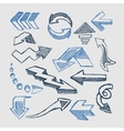 Hand drawn sketch blue marker signs arrows vector image