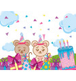 happy birthday animals party vector image vector image
