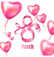 happy womens day 8 march ribbon balloons vector image