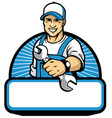 mechanic mascot with the wrench vector image vector image
