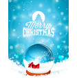 merry christmas with snow globe and vector image