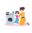 mom and daughter are washing vector image