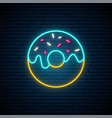 neon donut sign bright glowing donut emblem vector image vector image