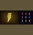 neon lightning icon glowing neon electric vector image vector image