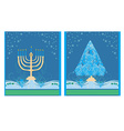 Pair of Happy Holidays cards with Christmas tree vector image