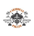 pirate skull and cannons design element vector image
