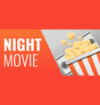 popcorn night movie concept banner cartoon style vector image vector image