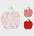 red apple mesh 2d model and triangle mosaic vector image vector image