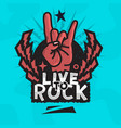 rock star live to rock design with devil vector image