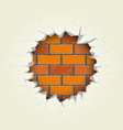 round hole in the brick wall vector image vector image