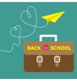 Schoolbag briefcase and yellow paperplane dash vector image vector image