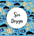 sea design pattern with ocean fish vector image vector image