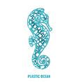 seahorse plastic waste ocean environment problem vector image vector image