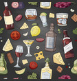 seamless pattern with alcohol and drinks on black vector image vector image