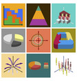 set of flat icons on stylish background economic vector image