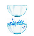 set two watercolor bowls one is with water vector image vector image