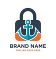 ship anchor key logo design vector image