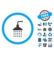 Shower Flat Icon with Bonus vector image vector image