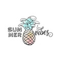 summer pineapple with sea water waves and text vector image