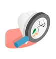 Tooth with magnifying glass icon vector image vector image